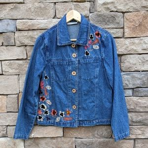 Tantrums Denim Jacket with Applique & Embroidery